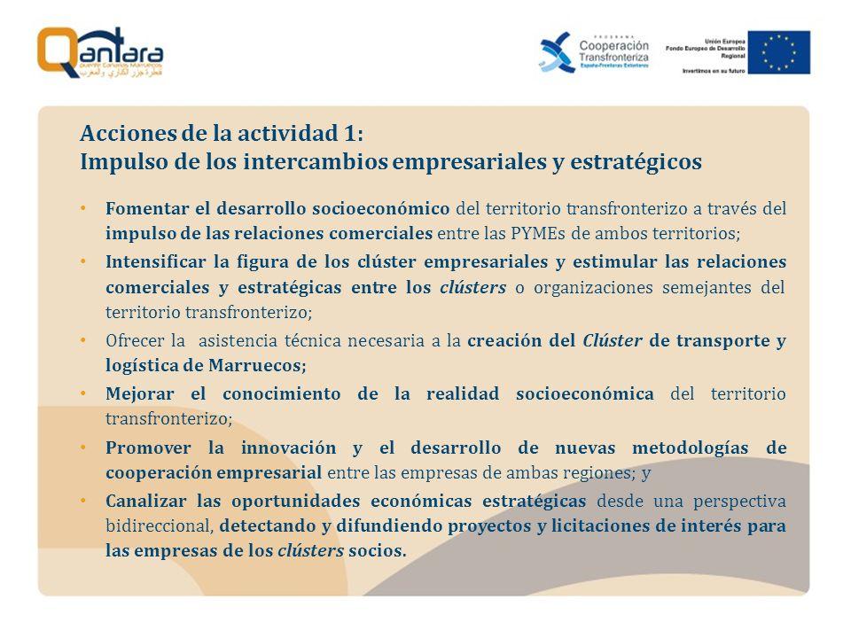Fomentar el desarrollo socioeconómico del territorio transfronterizo a través del impulso de las relaciones comerciales entre las PYMEs de ambos territorios; Intensificar la figura de los clúster empresariales y estimular las relaciones comerciales y estratégicas entre los clústers o organizaciones semejantes del territorio transfronterizo; Ofrecer la asistencia técnica necesaria a la creación del Clúster de transporte y logística de Marruecos; Mejorar el conocimiento de la realidad socioeconómica del territorio transfronterizo; Promover la innovación y el desarrollo de nuevas metodologías de cooperación empresarial entre las empresas de ambas regiones; y Canalizar las oportunidades económicas estratégicas desde una perspectiva bidireccional, detectando y difundiendo proyectos y licitaciones de interés para las empresas de los clústers socios.