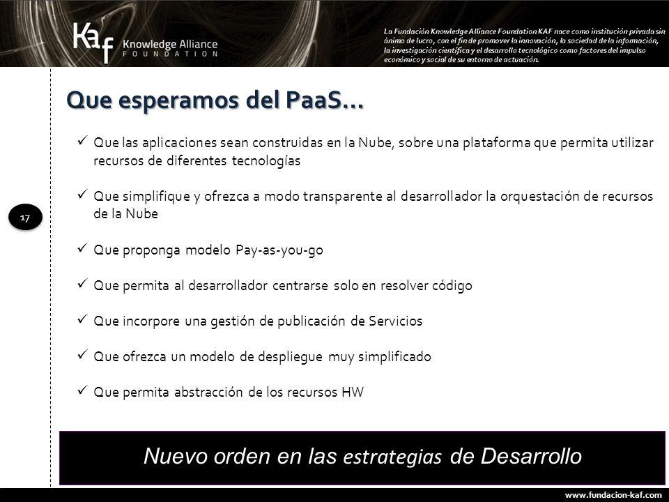 www.fundacion-kaf.com 17 Que esperamos del PaaS… Que las aplicaciones sean construidas en la Nube, sobre una plataforma que permita utilizar recursos