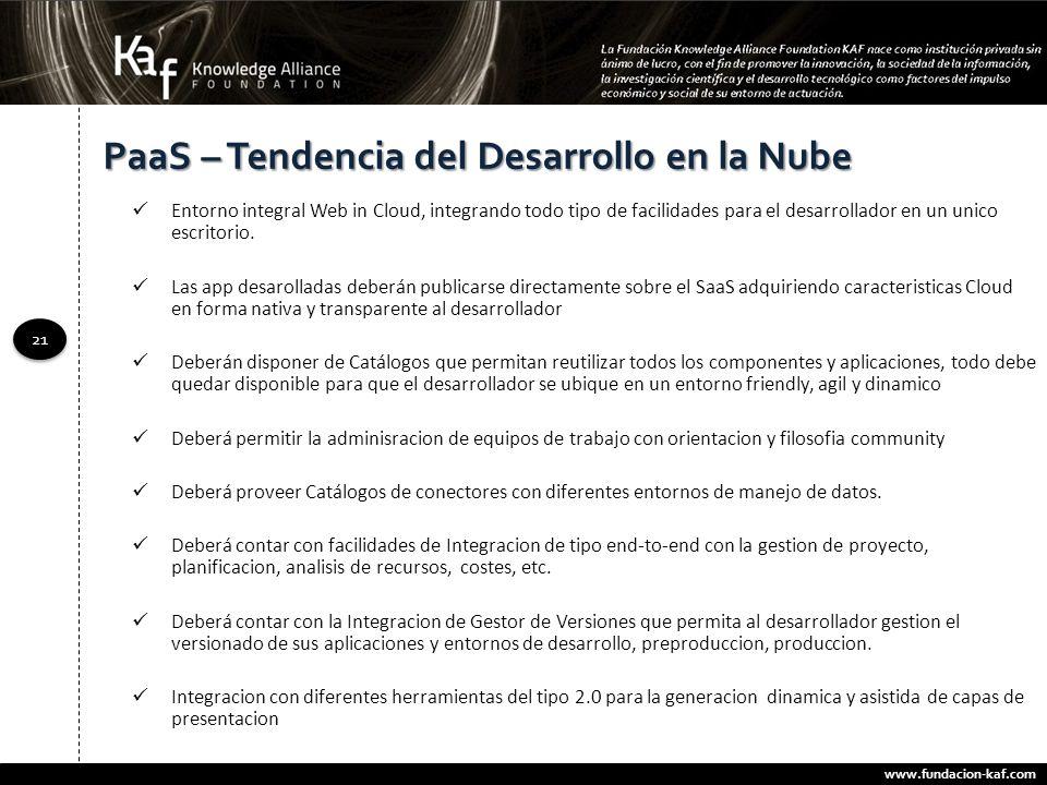 www.fundacion-kaf.com 21 PaaS – Tendencia del Desarrollo en la Nube Entorno integral Web in Cloud, integrando todo tipo de facilidades para el desarro