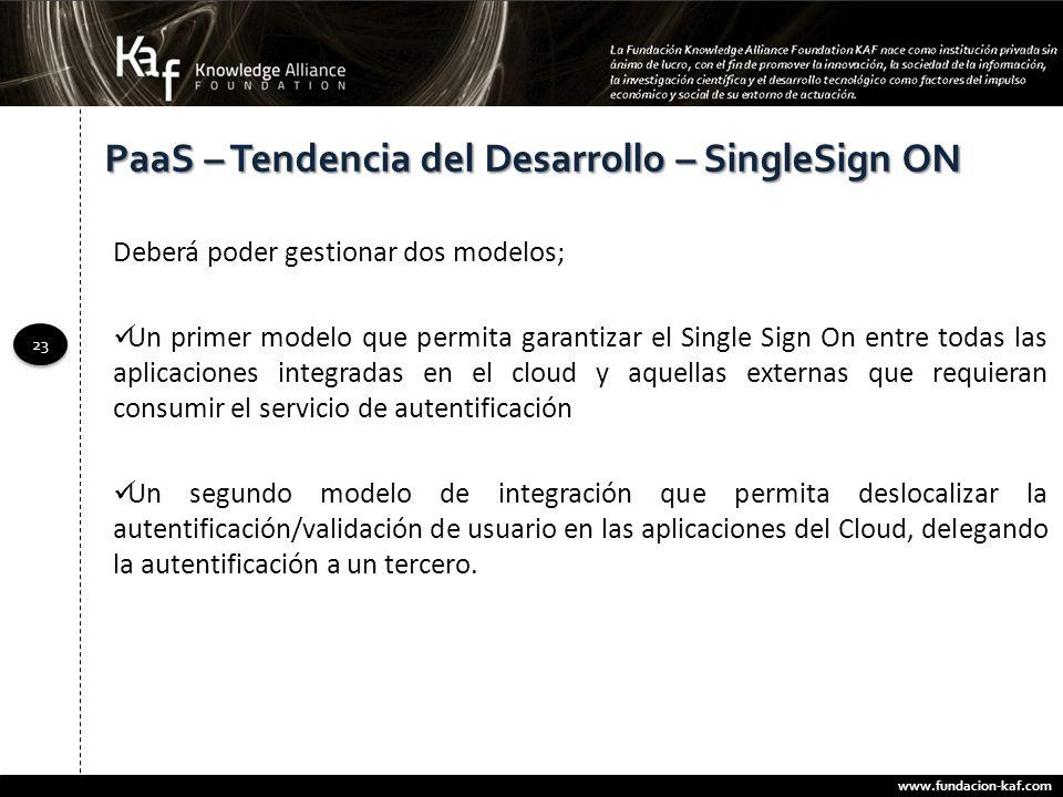 www.fundacion-kaf.com 23 PaaS – Tendencia del Desarrollo – SingleSign ON Deberá poder gestionar dos modelos; Un primer modelo que permita garantizar e