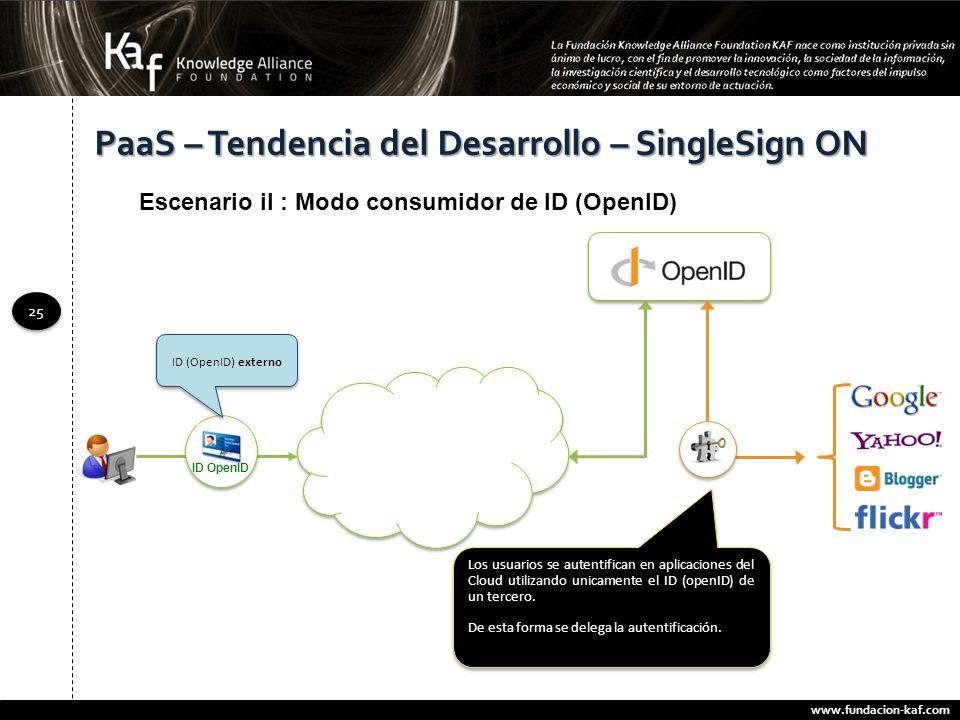 www.fundacion-kaf.com 25 PaaS – Tendencia del Desarrollo – SingleSign ON Escenario iI : Modo consumidor de ID (OpenID) Los usuarios se autentifican en