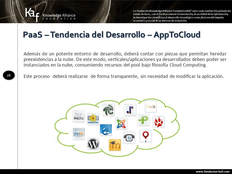 www.fundacion-kaf.com 26 PaaS – Tendencia del Desarrollo – AppToCloud Además de un potente entorno de desarrollo, deberá contar con piezas que permita