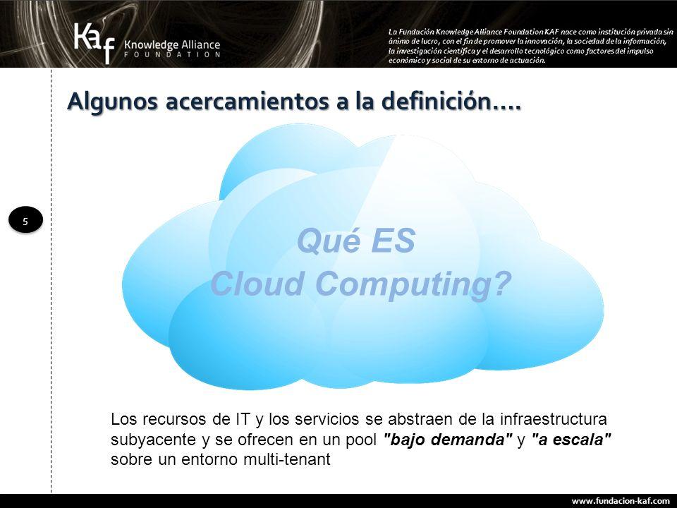 www.fundacion-kaf.com 5 5 Los recursos de IT y los servicios se abstraen de la infraestructura subyacente y se ofrecen en un pool