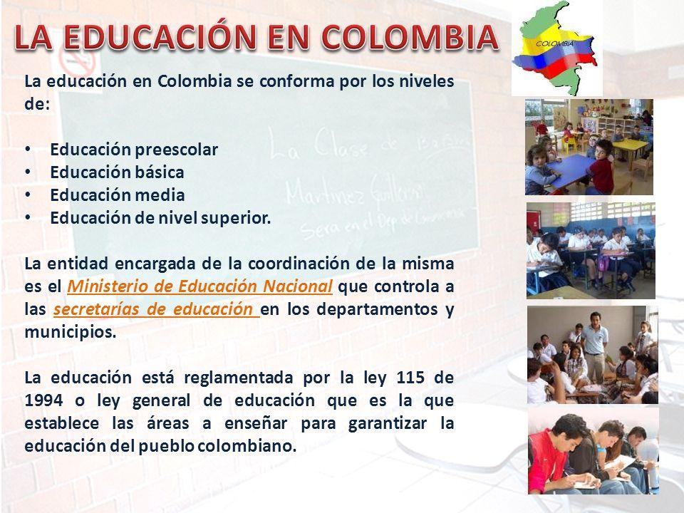 La educación en Colombia se conforma por los niveles de: Educación preescolar Educación básica Educación media Educación de nivel superior. La entidad