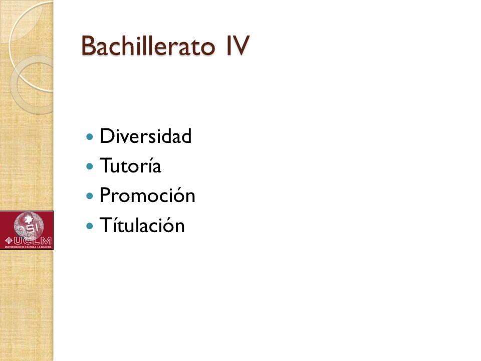 Bachillerato IV Diversidad Tutoría Promoción Títulación