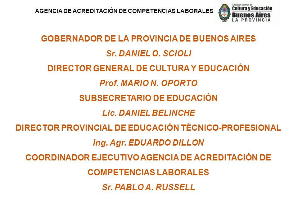 GOBERNADOR DE LA PROVINCIA DE BUENOS AIRES Sr. DANIEL O. SCIOLI DIRECTOR GENERAL DE CULTURA Y EDUCACIÓN Prof. MARIO N. OPORTO SUBSECRETARIO DE EDUCACI