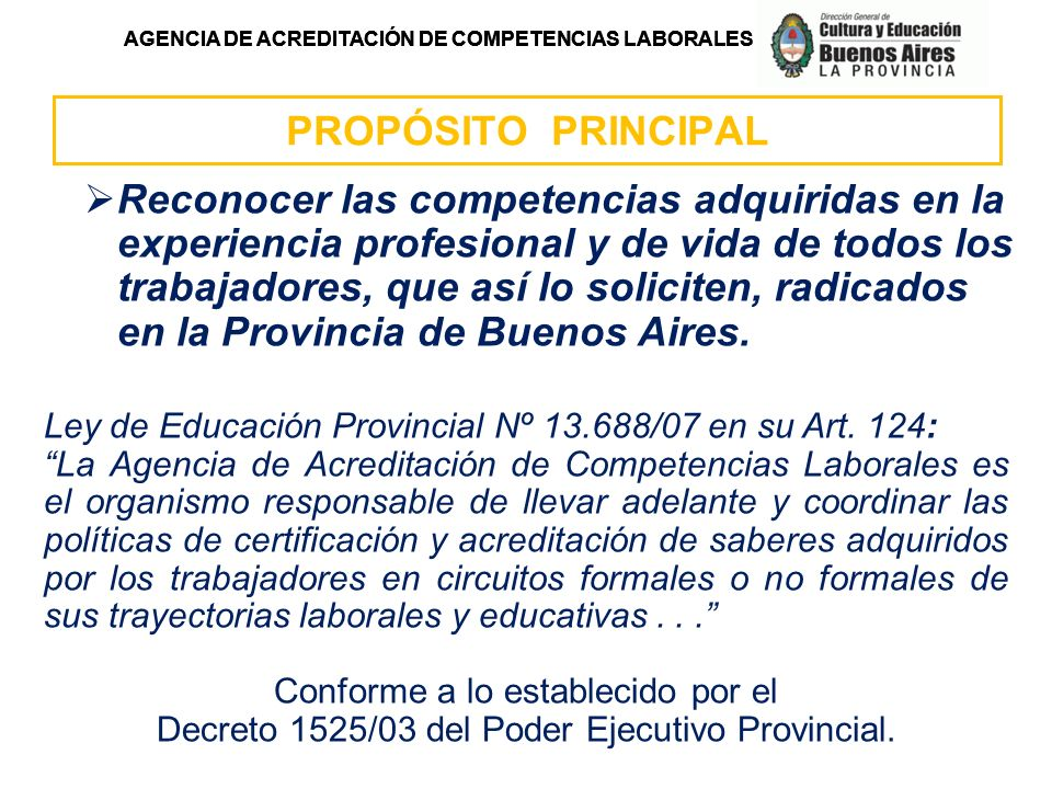 AGENCIA DE ACREDITACIÓN DE COMPETENCIAS LABORALES ORGANIGRAMA DE LA DIRECCIÓN GENERAL DIRECCIÓN PROVINCIAL DE EDUCACIÓN TÉCNICO- PROFESIONAL DIRECCIÓN DE EDUCACIÓN TÉCNICA DIRECCIÓN DE EDUCACIÓN AGROPECUARIA DIRECCIÓN DE FORMACIÓN PROFESIONAL DIRECCIÓN DE PROMOCIÓN Y DESARROLLO DE LA EDUCACIÓN TÉCNICO- PROFESIONAL AGENCIA DE ACREDITACIÓN DE COMPETENCIAS LABORALES DIRECCIÓN GENERAL DE CULTURA Y EDUCACIÓN SUBSECRETARÍA DE EDUCACIÓN UNIDAD MINISTRO CONSEJO PROVINCIAL DE EDUCACIÓN Y TRABAJO