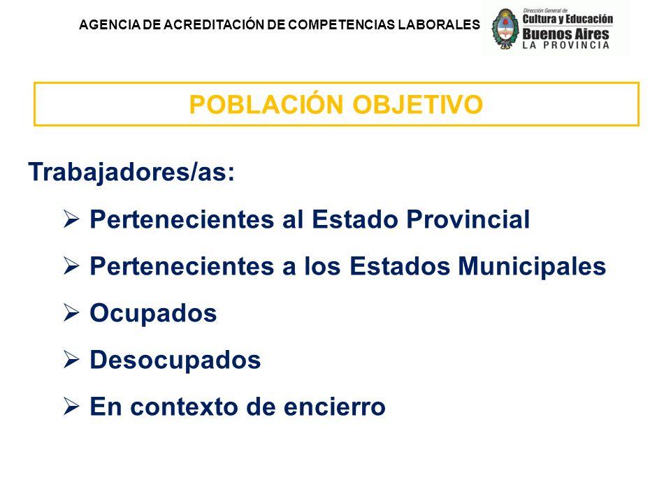 AGENCIA DE ACREDITACIÓN DE COMPETENCIAS LABORALES POBLACIÓN OBJETIVO Trabajadores/as: Pertenecientes al Estado Provincial Pertenecientes a los Estados