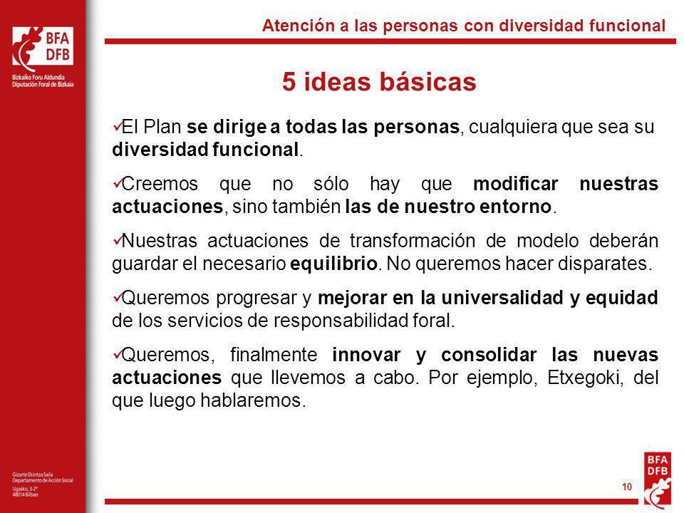 10 5 ideas básicas Atención a las personas con diversidad funcional El Plan se dirige a todas las personas, cualquiera que sea su diversidad funcional