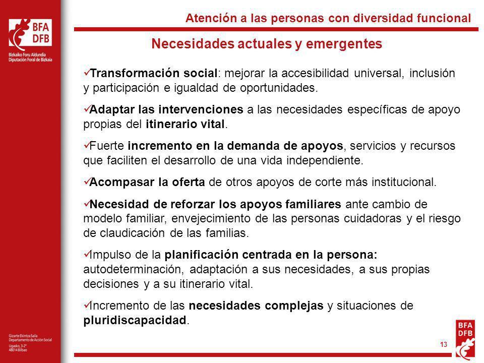 13 Necesidades actuales y emergentes Transformación social: mejorar la accesibilidad universal, inclusión y participación e igualdad de oportunidades.