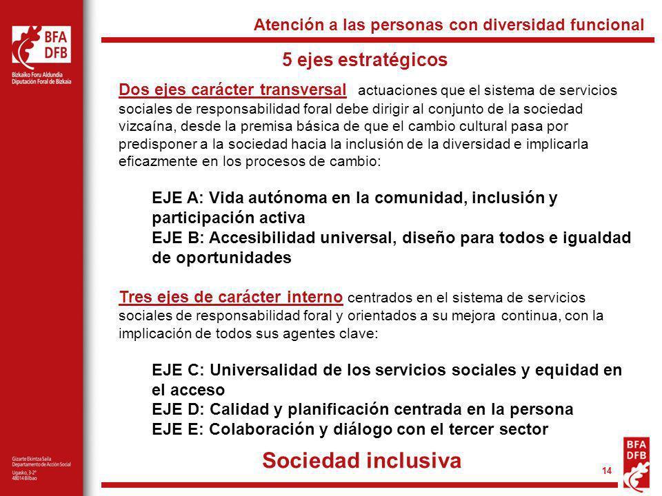 14 5 ejes estratégicos Atención a las personas con diversidad funcional Dos ejes carácter transversal actuaciones que el sistema de servicios sociales