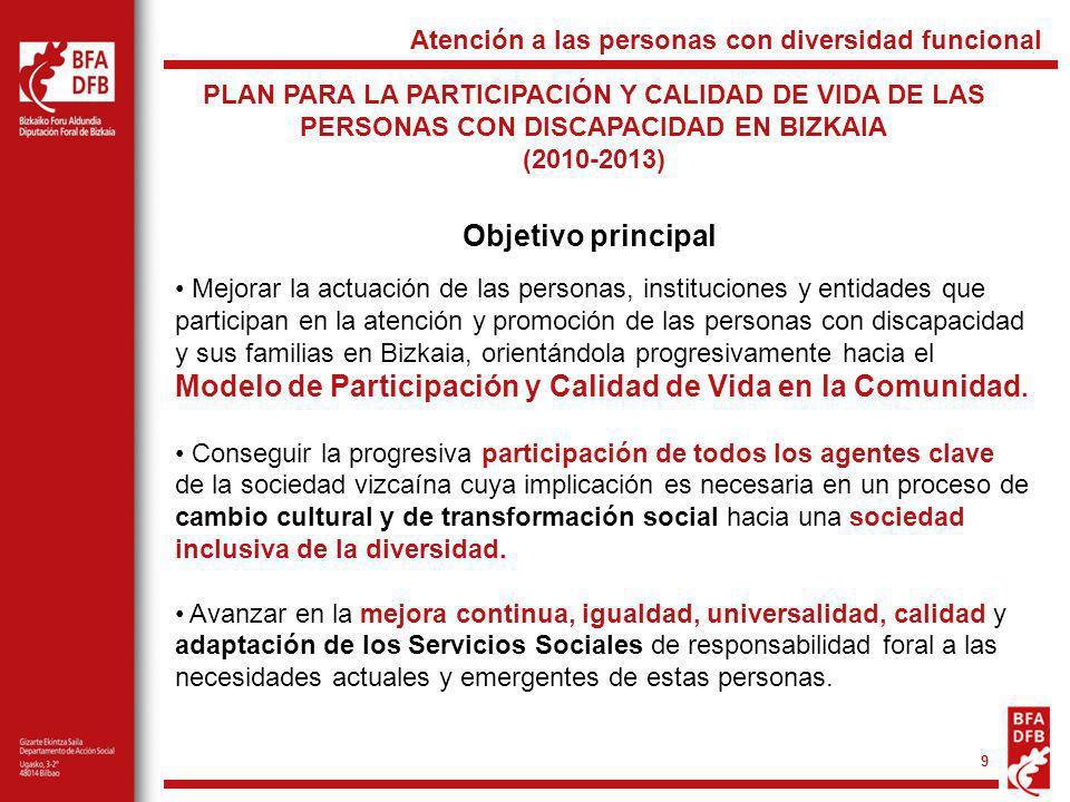 9 PLAN PARA LA PARTICIPACIÓN Y CALIDAD DE VIDA DE LAS PERSONAS CON DISCAPACIDAD EN BIZKAIA (2010-2013) Atención a las personas con diversidad funciona