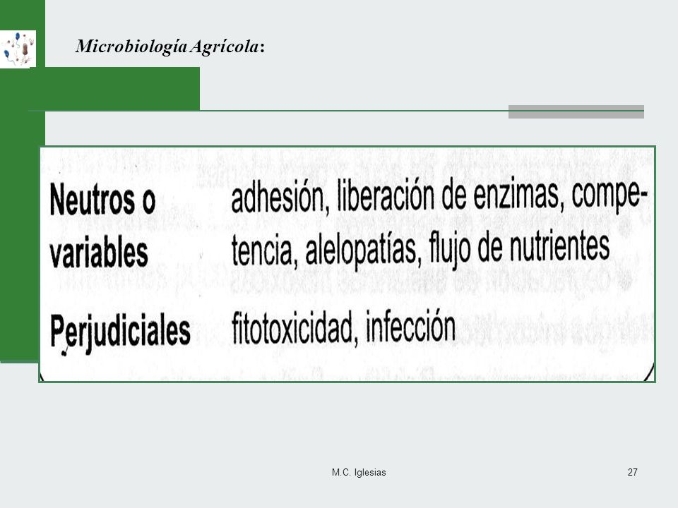 M.C. Iglesias27 Microbiología Agrícola: