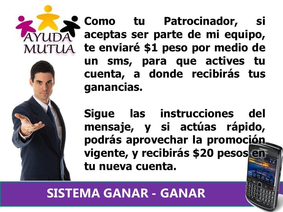 Para activarte como Promotor de Ayuda Mutua, deberás enviar $15 pesos a tu Patrocinador, pero si aprovechaste la promoción, deberás tener $21 pesos en tu cuenta, de ahí saldrá tu envio!!.