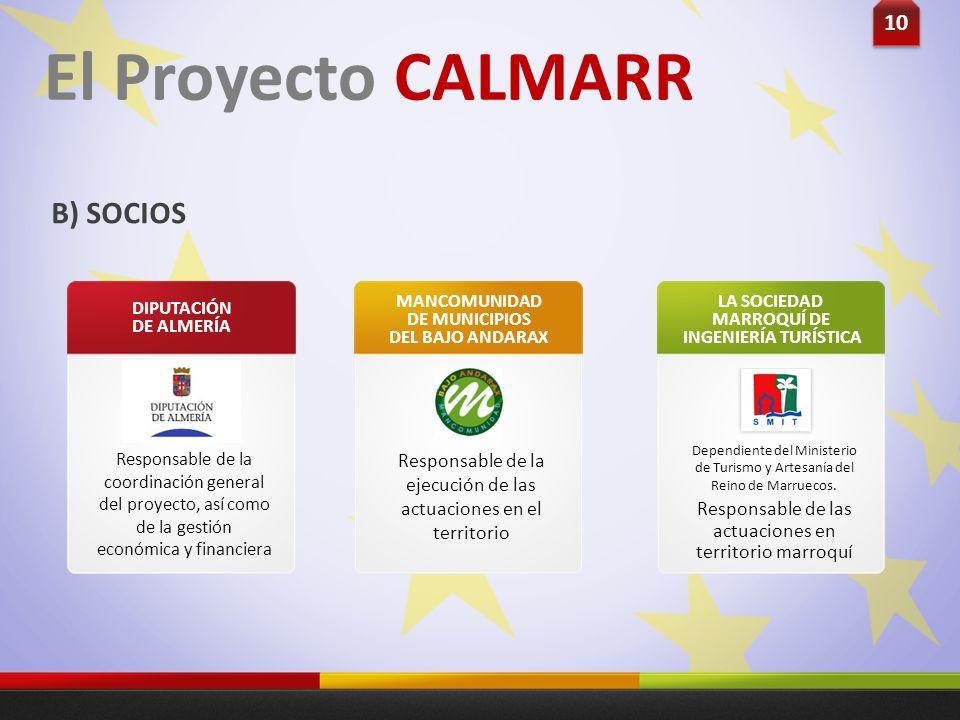 10 Responsable de la coordinación general del proyecto, así como de la gestión económica y financiera DIPUTACIÓN DE ALMERÍA El Proyecto CALMARR B) SOC