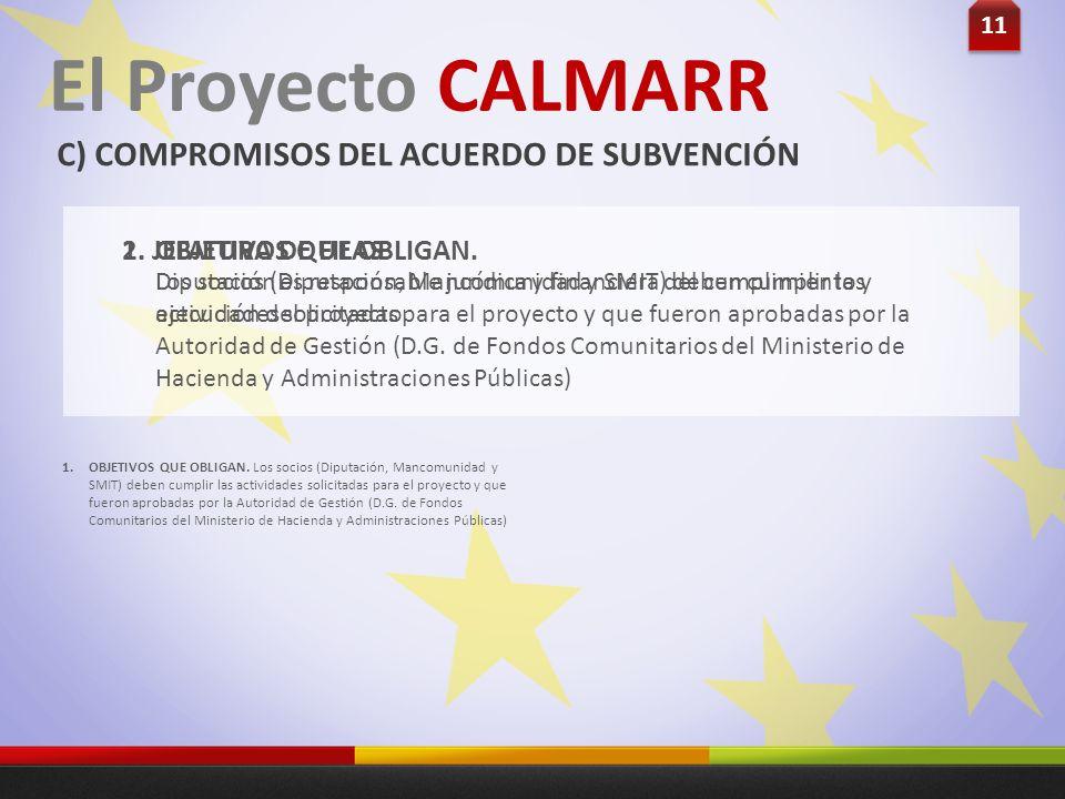 11 El Proyecto CALMARR C) COMPROMISOS DEL ACUERDO DE SUBVENCIÓN Los socios (Diputación, Mancomunidad y SMIT) deben cumplir las actividades solicitadas