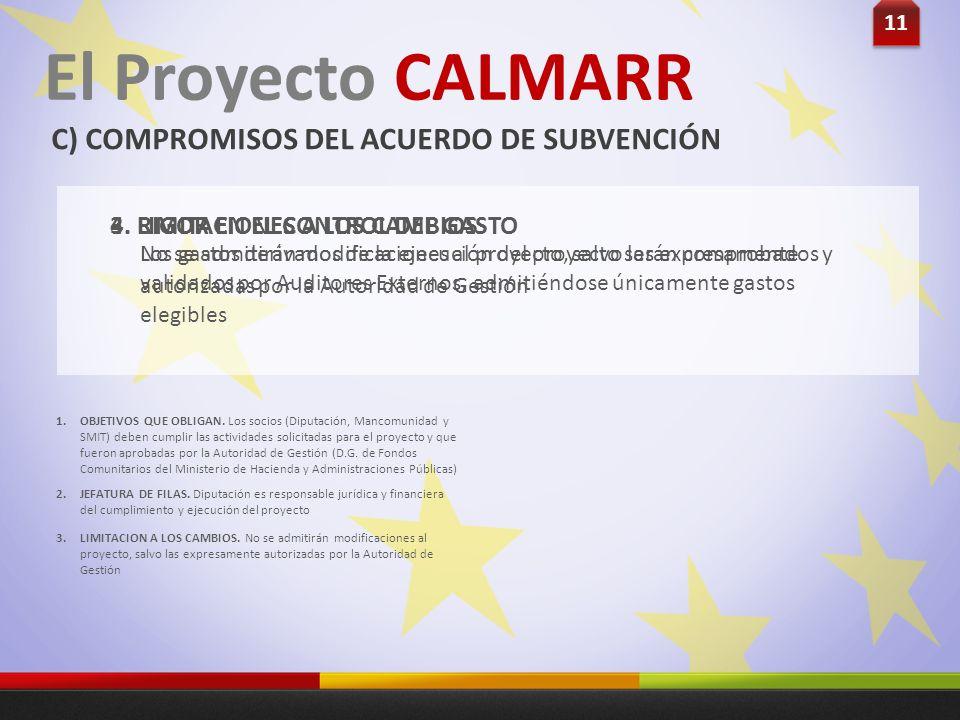 11 El Proyecto CALMARR C) COMPROMISOS DEL ACUERDO DE SUBVENCIÓN No se admitirán modificaciones al proyecto, salvo las expresamente autorizadas por la