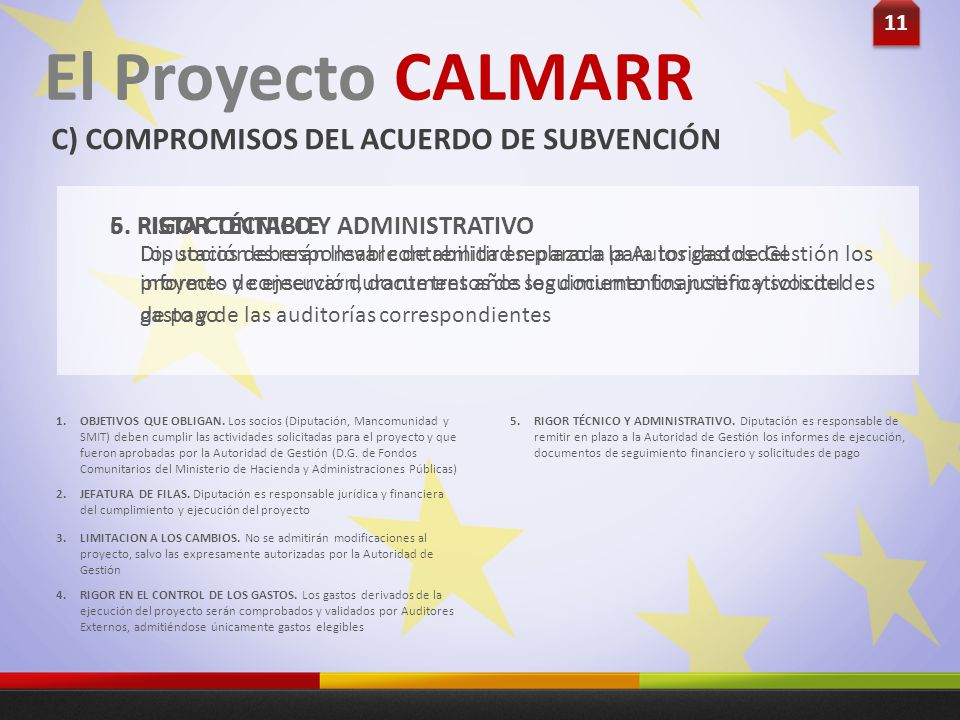 11 El Proyecto CALMARR C) COMPROMISOS DEL ACUERDO DE SUBVENCIÓN Diputación es responsable de remitir en plazo a la Autoridad de Gestión los informes d