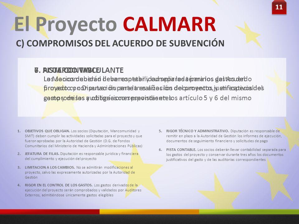 11 El Proyecto CALMARR C) COMPROMISOS DEL ACUERDO DE SUBVENCIÓN Los socios deberán llevar contabilidad separada para los gastos del proyecto y conserv