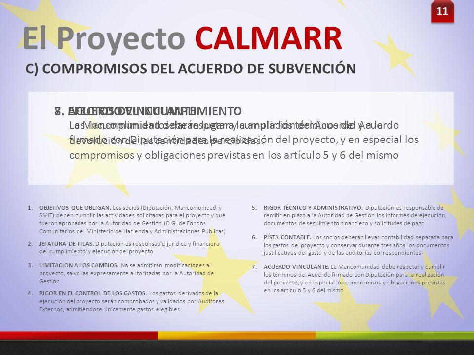 11 El Proyecto CALMARR C) COMPROMISOS DEL ACUERDO DE SUBVENCIÓN La Mancomunidad debe respetar y cumplir los términos del Acuerdo firmado con Diputació