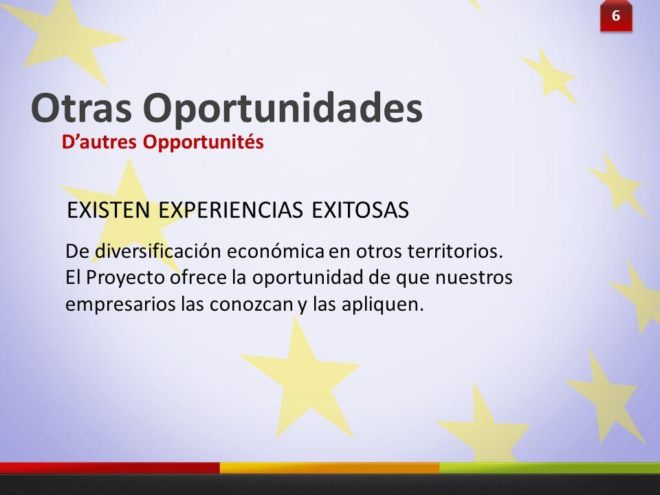 De diversificación económica en otros territorios. El Proyecto ofrece la oportunidad de que nuestros empresarios las conozcan y las apliquen. 6 6 EXIS
