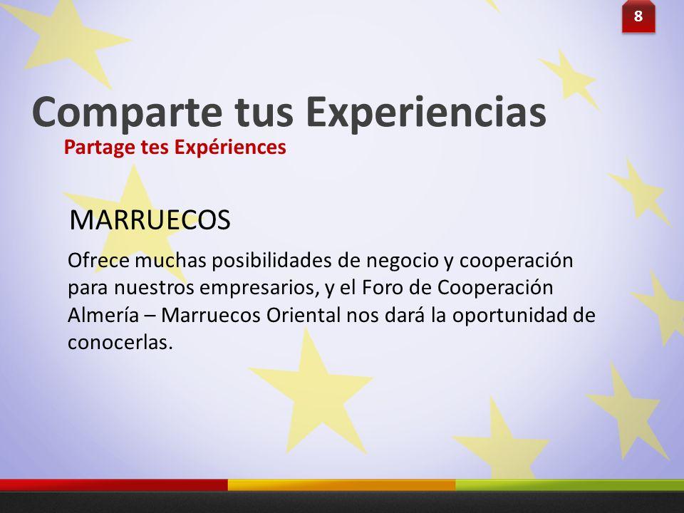 Comparte tus Experiencias Ofrece muchas posibilidades de negocio y cooperación para nuestros empresarios, y el Foro de Cooperación Almería – Marruecos