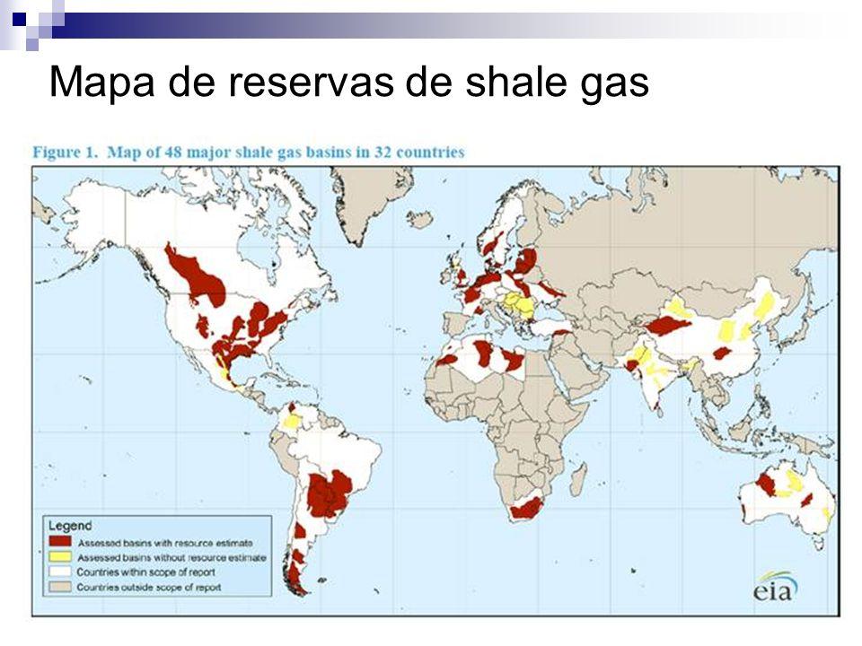 Mapa de reservas de shale gas