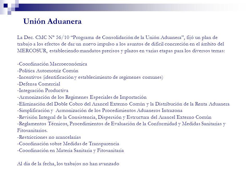 La Dec. CMC Nº 56/10 Programa de Consolidación de la Unión Aduanera, fijó un plan de trabajo a los efectos de dar un nuevo impulso a los asuntos de di