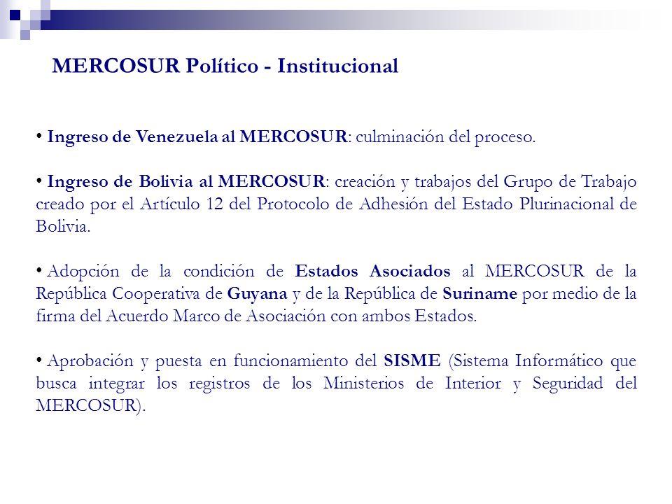 MERCOSUR Político - Institucional Ingreso de Venezuela al MERCOSUR: culminación del proceso. Ingreso de Bolivia al MERCOSUR: creación y trabajos del G