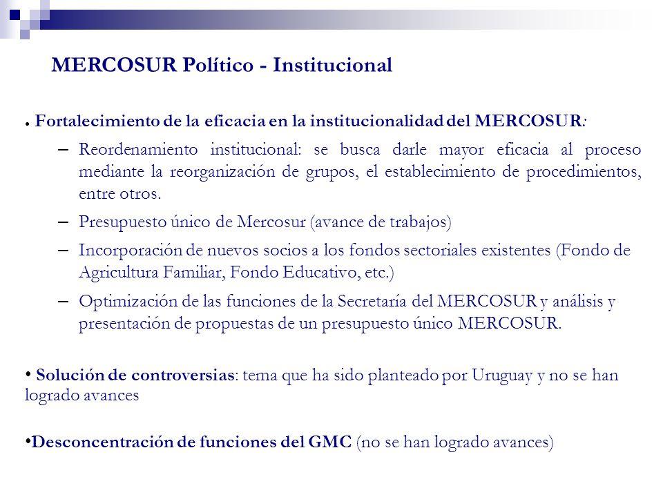 Fortalecimiento de la eficacia en la institucionalidad del MERCOSUR: – Reordenamiento institucional: se busca darle mayor eficacia al proceso mediante