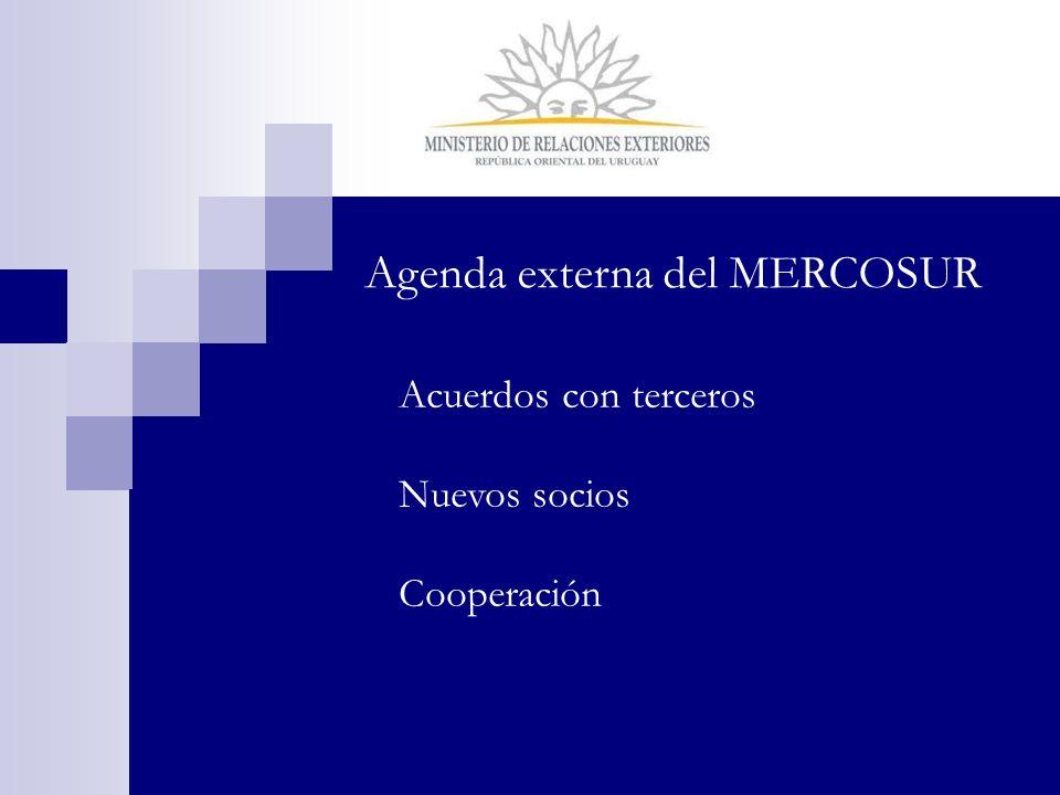 Agenda externa del MERCOSUR Acuerdos con terceros Nuevos socios Cooperación