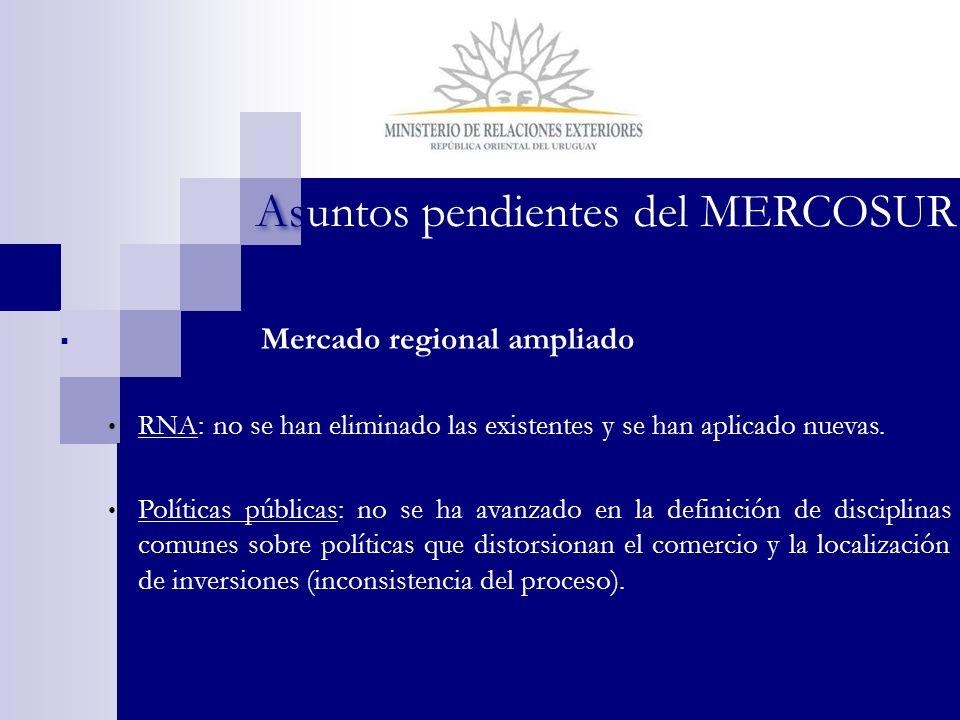 Asuntos pendientes del MERCOSUR Mercado regional ampliado RNA: no se han eliminado las existentes y se han aplicado nuevas. Políticas públicas: no se