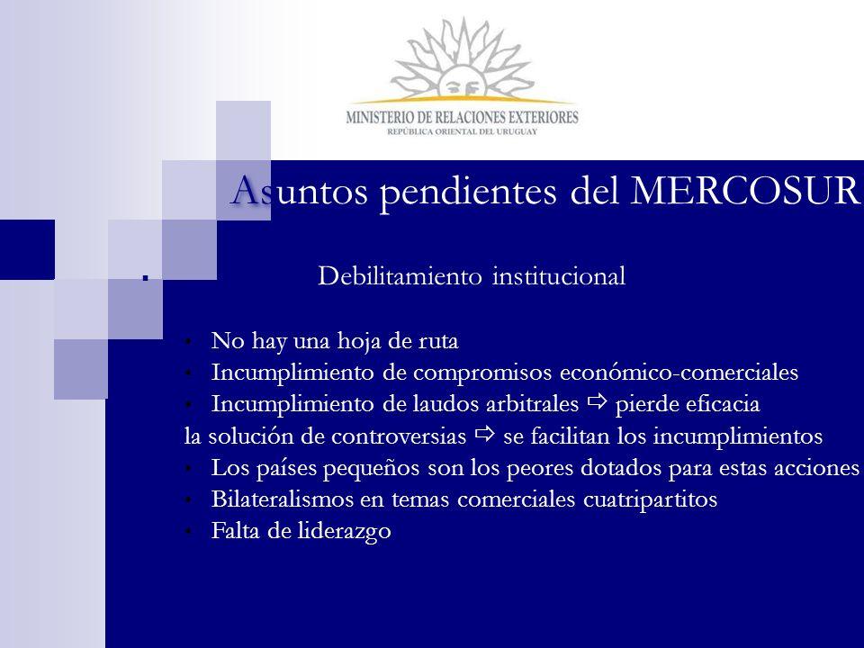 Debilitamiento institucional No hay una hoja de ruta Incumplimiento de compromisos económico-comerciales Incumplimiento de laudos arbitrales pierde ef