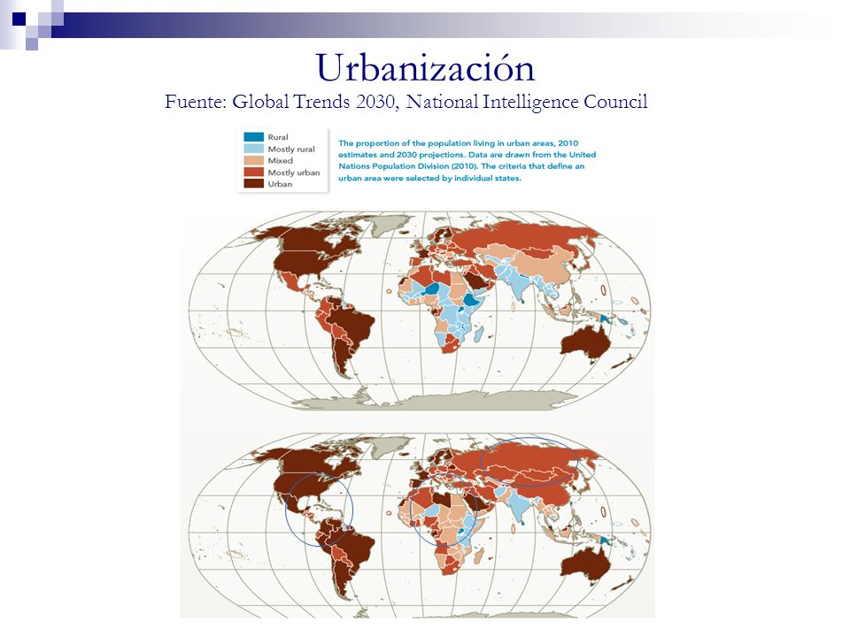 Urbanización Fuente: Global Trends 2030, National Intelligence Council
