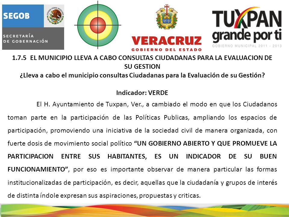 1.7.5 EL MUNICIPIO LLEVA A CABO CONSULTAS CIUDADANAS PARA LA EVALUACION DE SU GESTION ¿Lleva a cabo el municipio consultas Ciudadanas para la Evaluación de su Gestión.