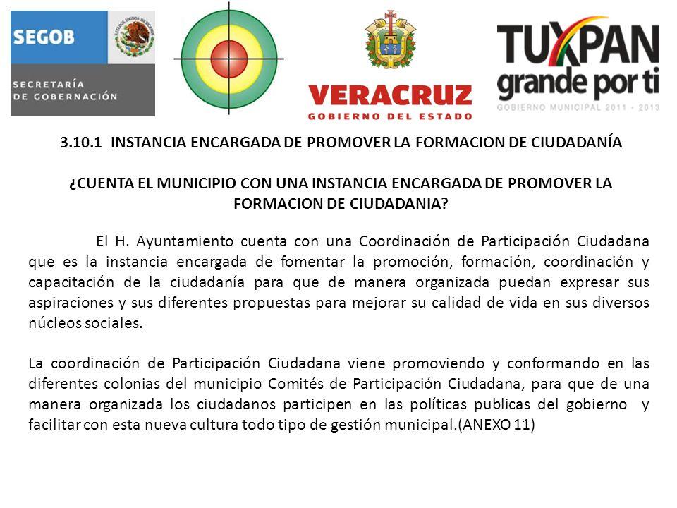 3.10.1 INSTANCIA ENCARGADA DE PROMOVER LA FORMACION DE CIUDADANÍA ¿CUENTA EL MUNICIPIO CON UNA INSTANCIA ENCARGADA DE PROMOVER LA FORMACION DE CIUDADANIA.