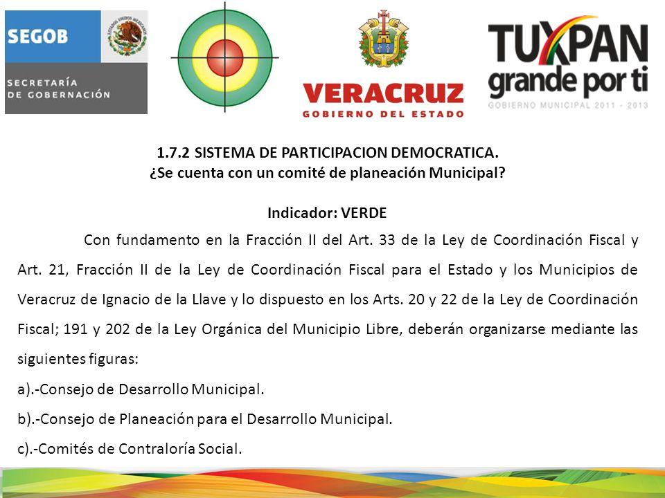 1.7.2 SISTEMA DE PARTICIPACION DEMOCRATICA. ¿Se cuenta con un comité de planeación Municipal.
