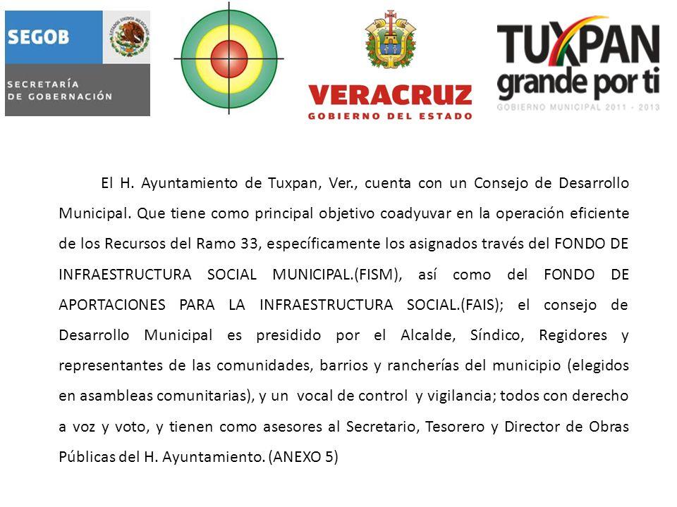 El H. Ayuntamiento de Tuxpan, Ver., cuenta con un Consejo de Desarrollo Municipal.