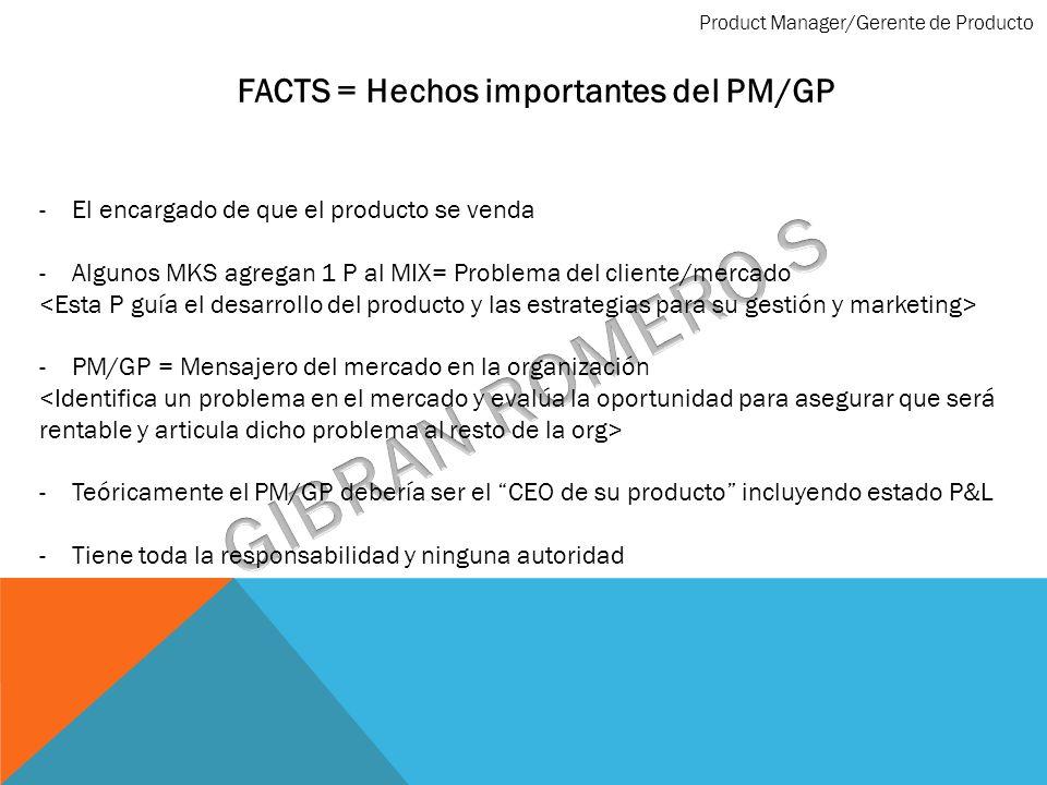 FACTS = Hechos importantes del PM/GP -El encargado de que el producto se venda -Algunos MKS agregan 1 P al MIX= Problema del cliente/mercado -PM/GP =