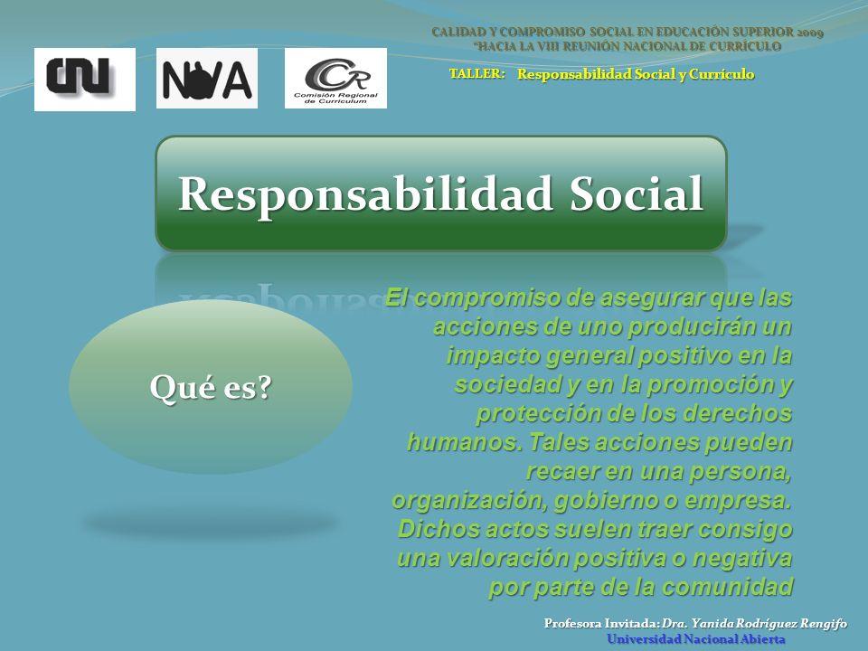 Profesora Invitada: Dra. Yanida Rodríguez Rengifo Universidad Nacional Abierta Qué es? CALIDAD Y COMPROMISO SOCIAL EN EDUCACIÓN SUPERIOR 2009 HACIA LA