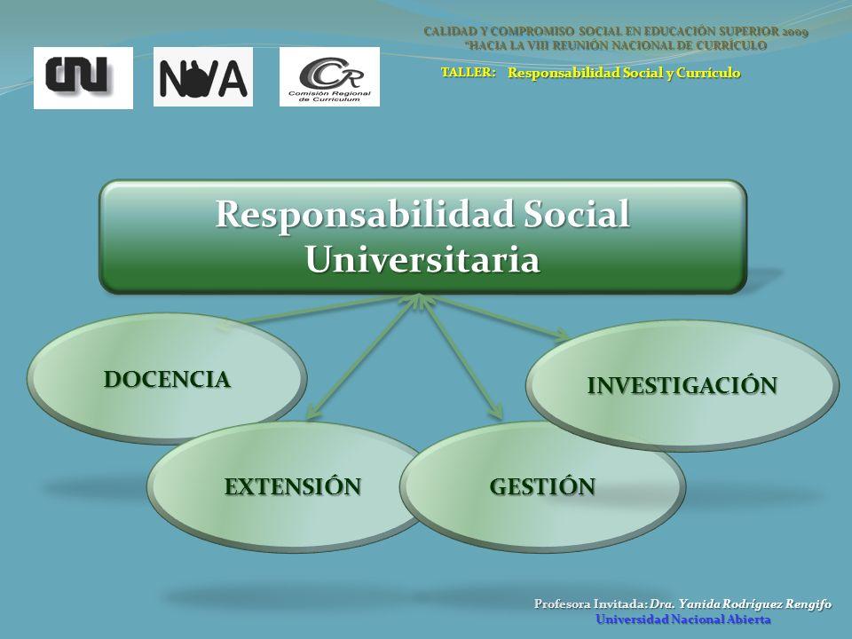 Profesora Invitada: Dra. Yanida Rodríguez Rengifo Universidad Nacional Abierta Responsabilidad Social Universitaria DOCENCIA EXTENSIÓNGESTIÓN INVESTIG
