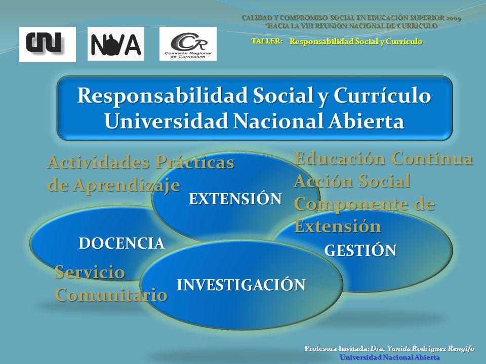 Profesora Invitada: Dra. Yanida Rodríguez Rengifo Universidad Nacional Abierta Responsabilidad Social y Currículo Universidad Nacional Abierta DOCENCI