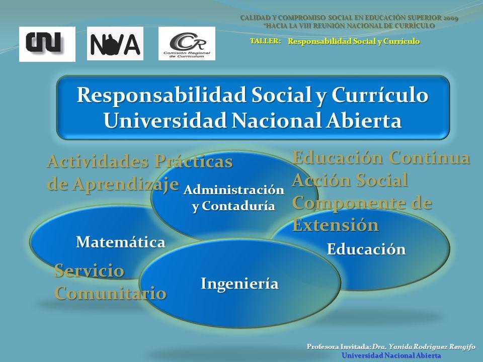 Profesora Invitada: Dra. Yanida Rodríguez Rengifo Universidad Nacional Abierta Responsabilidad Social y Currículo Universidad Nacional Abierta Matemát