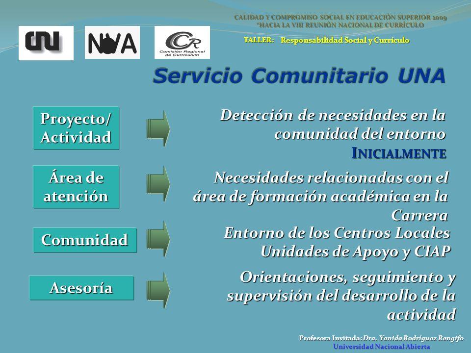 Profesora Invitada: Dra. Yanida Rodríguez Rengifo Universidad Nacional Abierta CALIDAD Y COMPROMISO SOCIAL EN EDUCACIÓN SUPERIOR 2009 HACIA LA VIII RE