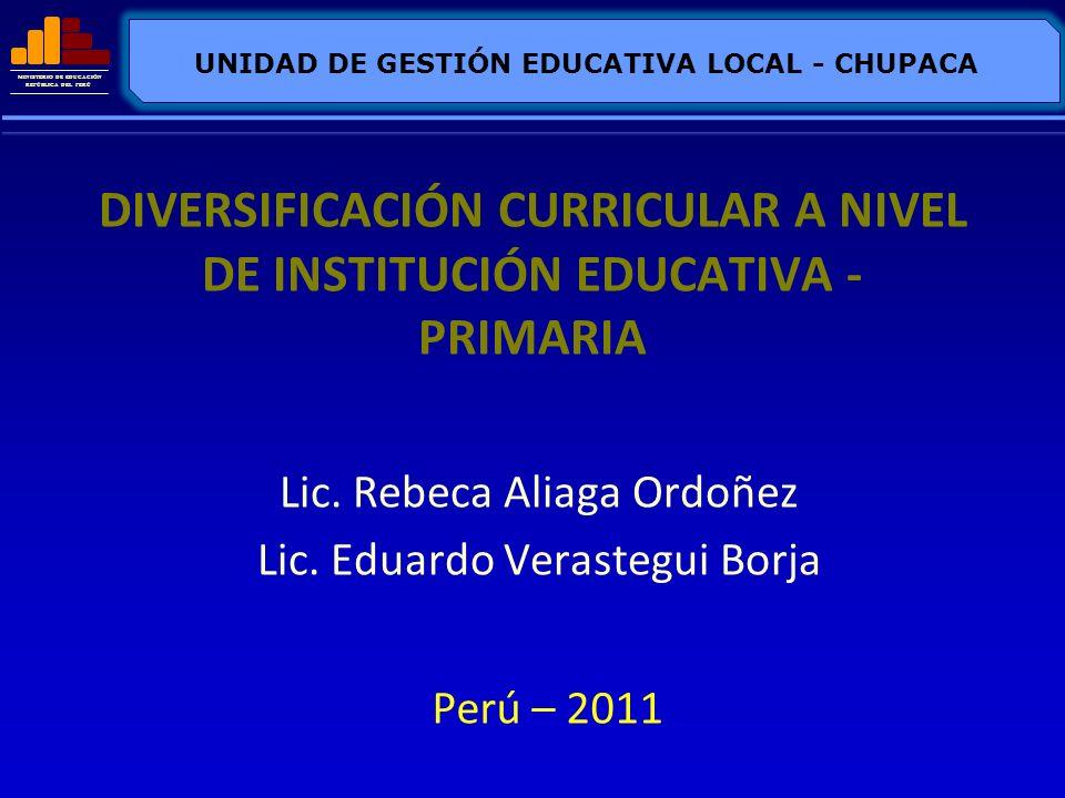 MINISTERIO DE EDUCACIÓN REPÚBLICA DEL PERÚ DIVERSIFICACIÓN CURRICULAR A NIVEL DE INSTITUCIÓN EDUCATIVA - PRIMARIA Lic. Rebeca Aliaga Ordoñez Lic. Edua
