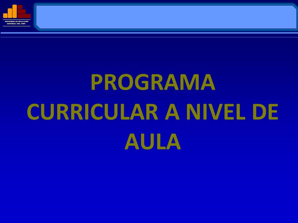 MINISTERIO DE EDUCACIÓN REPÚBLICA DEL PERÚ PROGRAMA CURRICULAR A NIVEL DE AULA