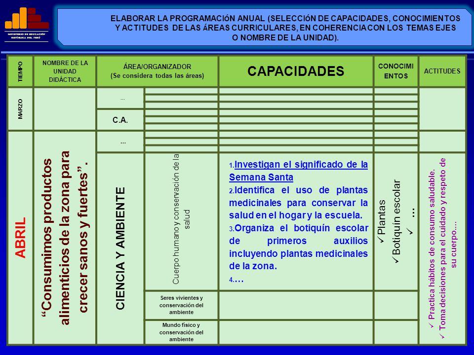 MINISTERIO DE EDUCACIÓN REPÚBLICA DEL PERÚ ELABORAR LA PROGRAMACI Ó N ANUAL (SELECCI Ó N DE CAPACIDADES, CONOCIMIENTOS Y ACTITUDES DE LAS Á REAS CURRI