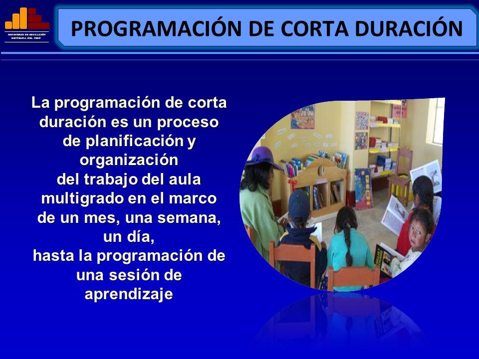 MINISTERIO DE EDUCACIÓN REPÚBLICA DEL PERÚ PROGRAMACIÓN DE CORTA DURACIÓN La programación de corta duración es un proceso de planificación y organizac