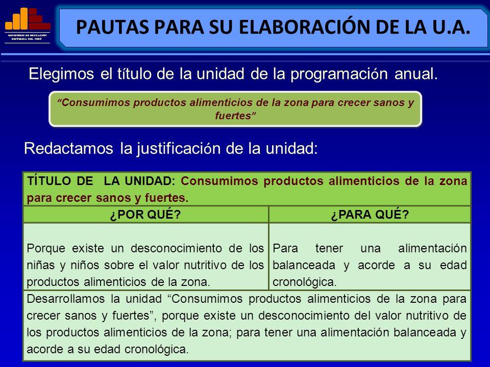 MINISTERIO DE EDUCACIÓN REPÚBLICA DEL PERÚ PAUTAS PARA SU ELABORACIÓN DE LA U.A. Elegimos el t í tulo de la unidad de la programaci ó n anual. Consumi