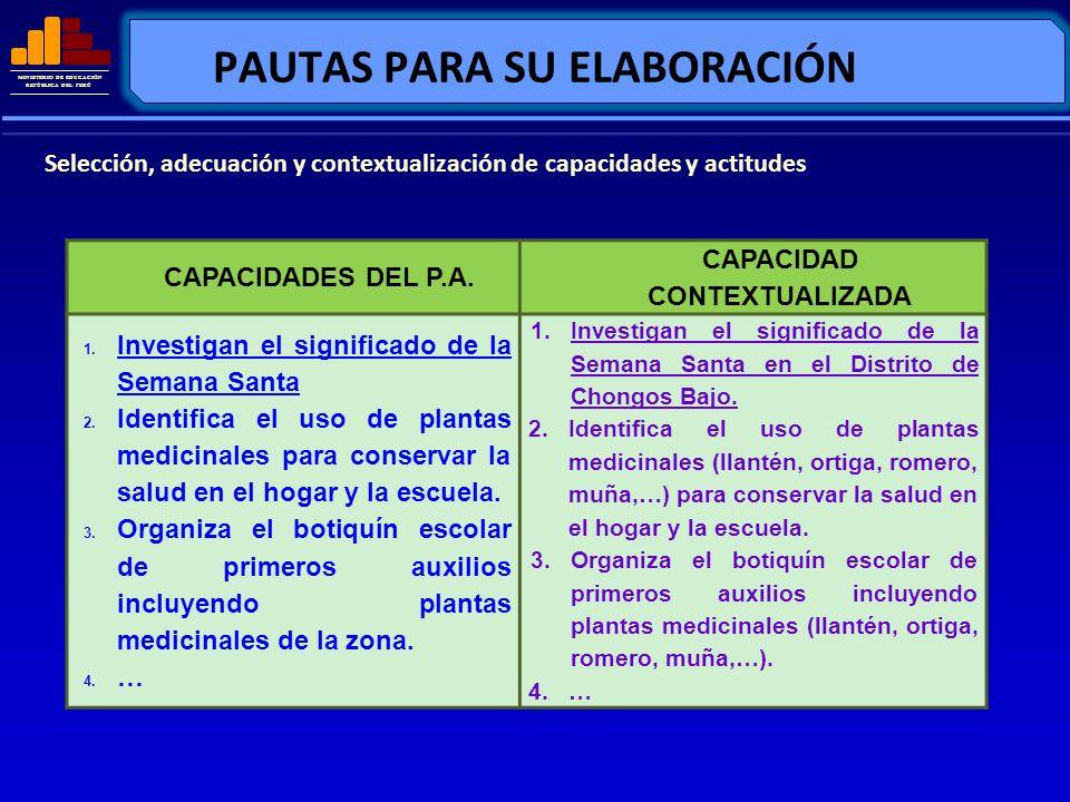 MINISTERIO DE EDUCACIÓN REPÚBLICA DEL PERÚ PAUTAS PARA SU ELABORACIÓN Selección, adecuación y contextualización de capacidades y actitudes CAPACIDADES